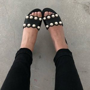 Shoes - Leather Scallop Hem Slide On Mule Sandals w Pearls